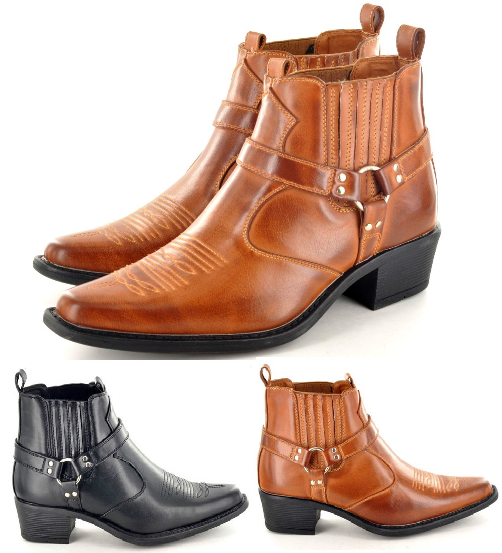 Details about Mens Cowboy Pointed Toe Western Boots Ankle Riding Boots Biker Slip On show original title