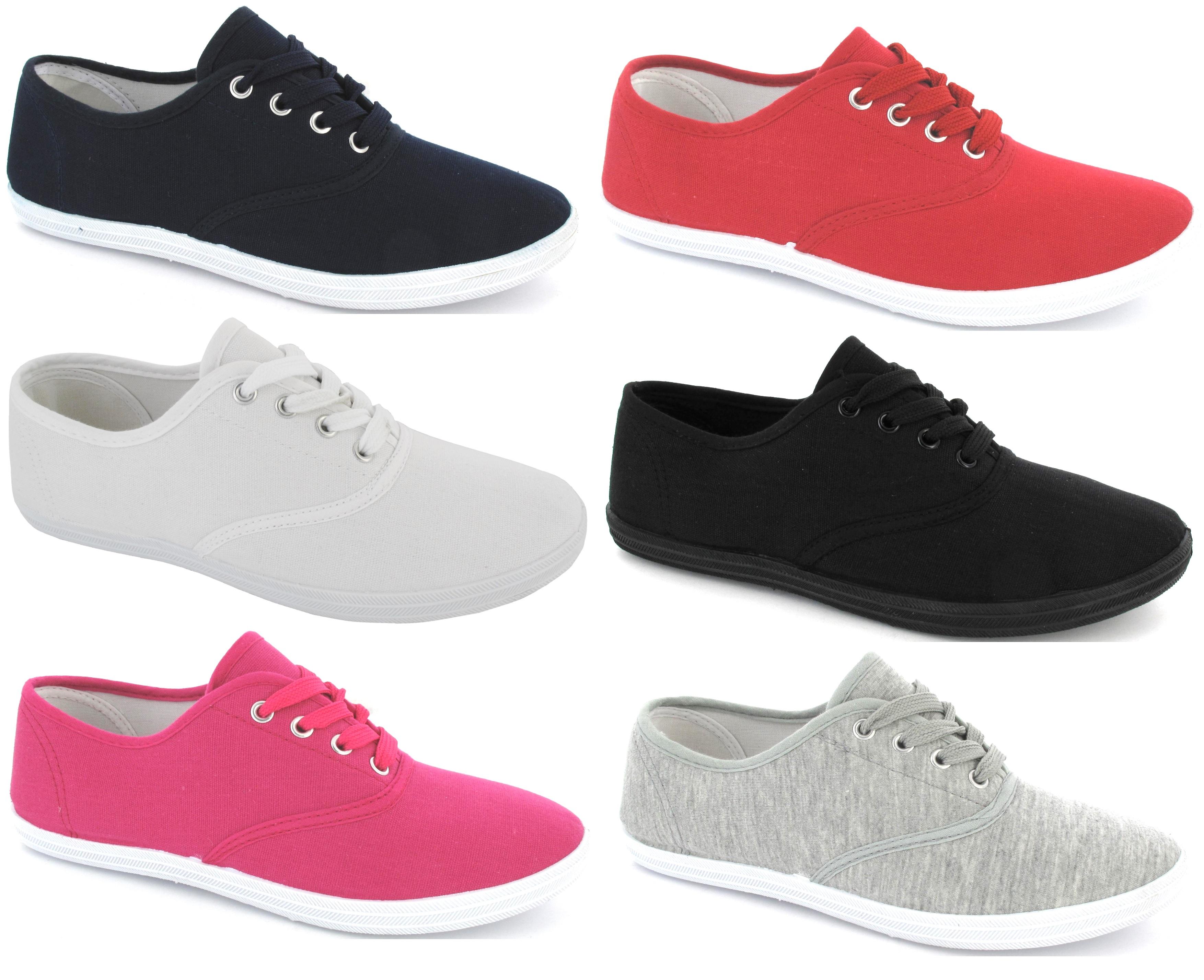 Detalles de Nuevo Mujer Plano Zapatillas Cordones Niña Blanco de Lona Talla