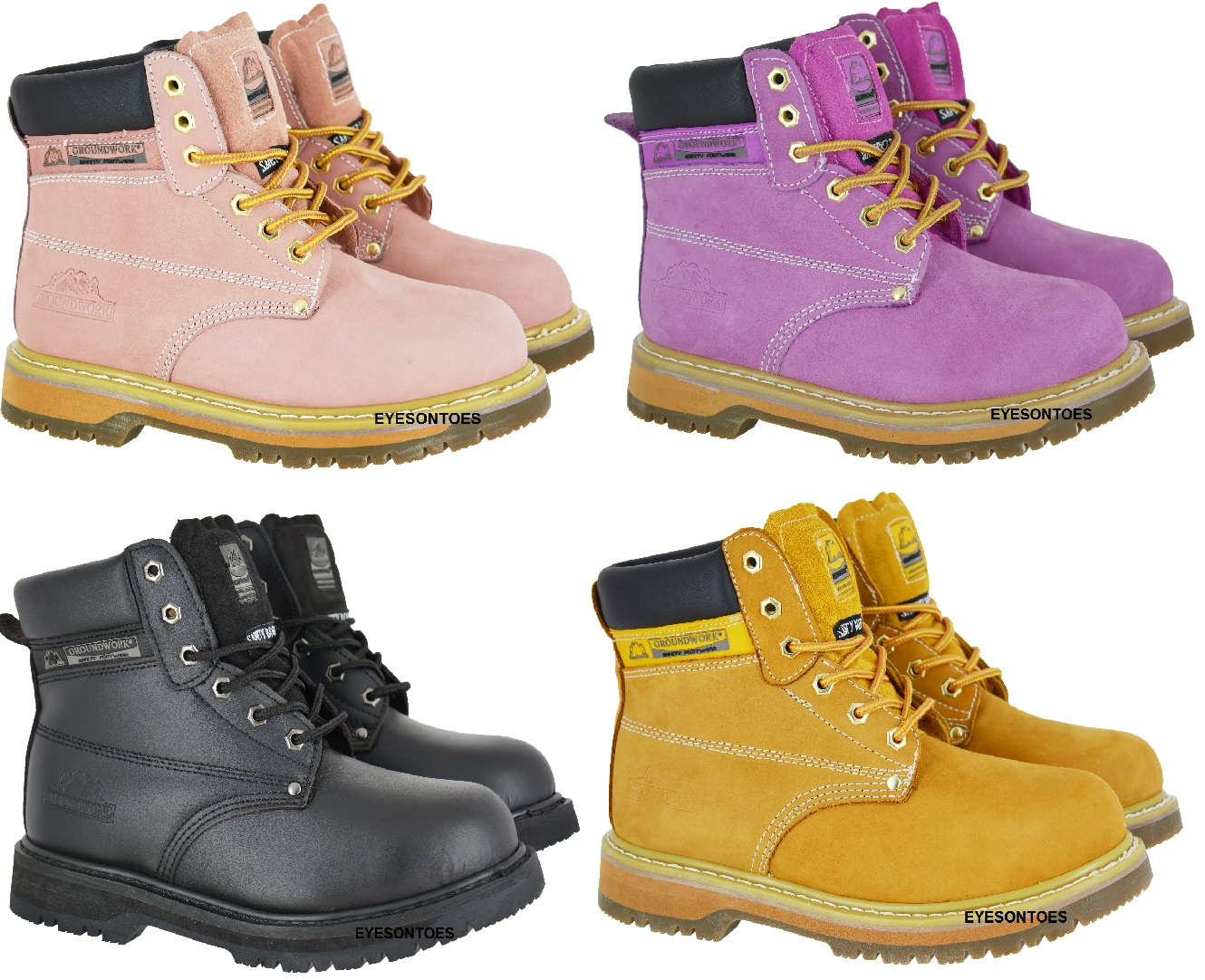 c284210ffea Details about LADIES PINK GROUNDWORK SAFETY STEEL TOE CAP LEATHER WORK  HIKING BOOTS SIZE 3-8