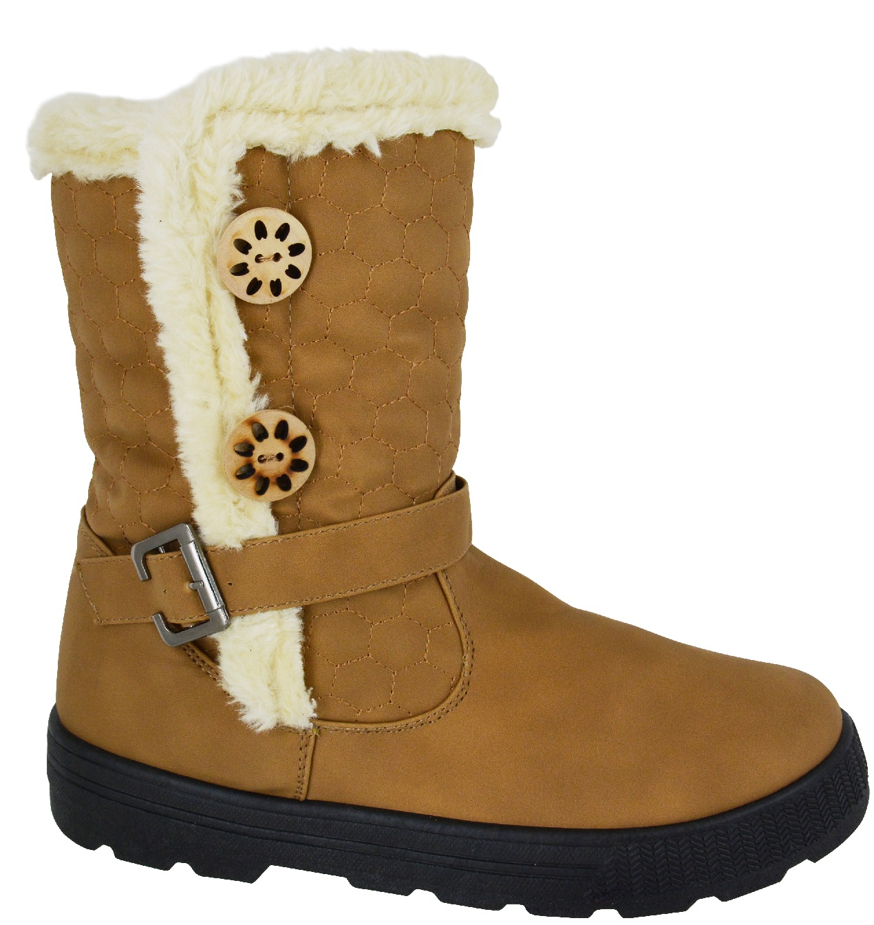 WOMENS QUILTED WINTER FUR LINED LADIES FASHION SNOW ANKLE ...