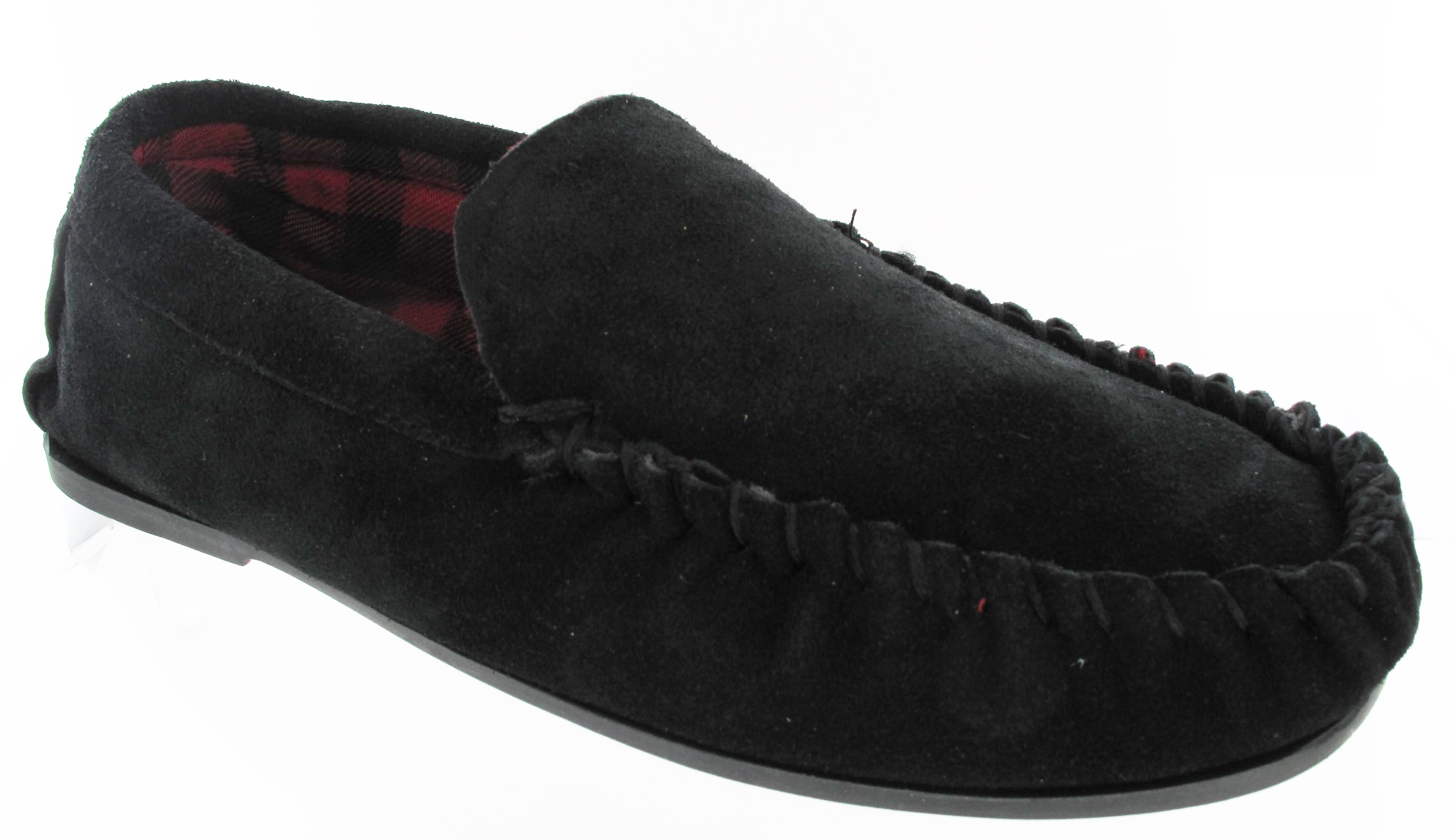 MENS-GENTS-REAL-LEATHER-SUEDE-MOCCASIN-WINTER-FLAT-BLACK-SLIPPERS-SIZE-UK-6-12 thumbnail 3