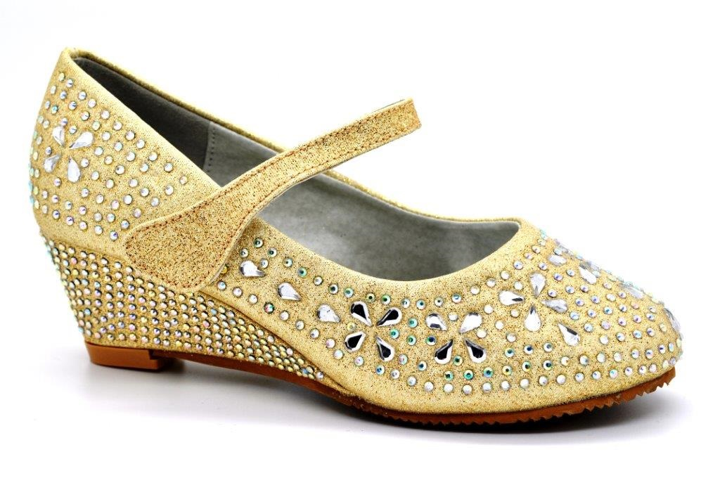 S Kids Childrens Bridesmaid Wedge Mid Heel Diamante