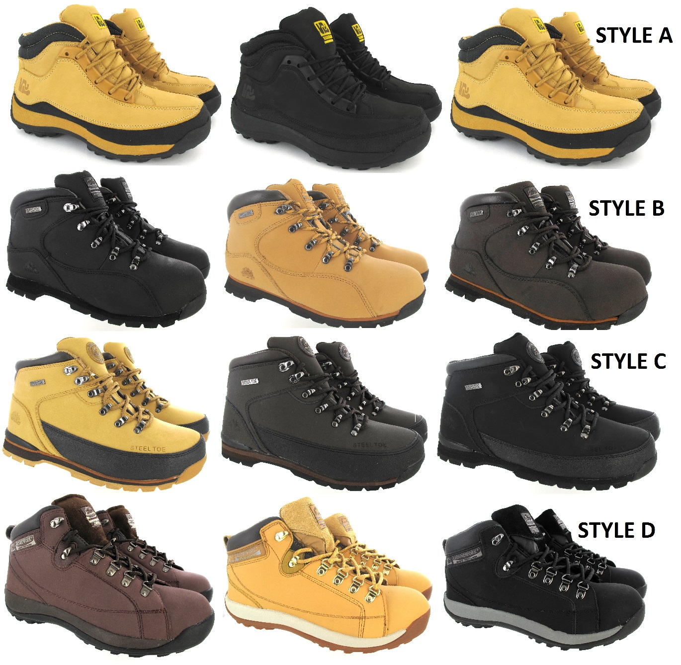 MEN/'S SAFETY STEEL TOE CAP WORK HIKING ANKLE HIKING TRAINERS BOOTS SHOES SZ 6-12