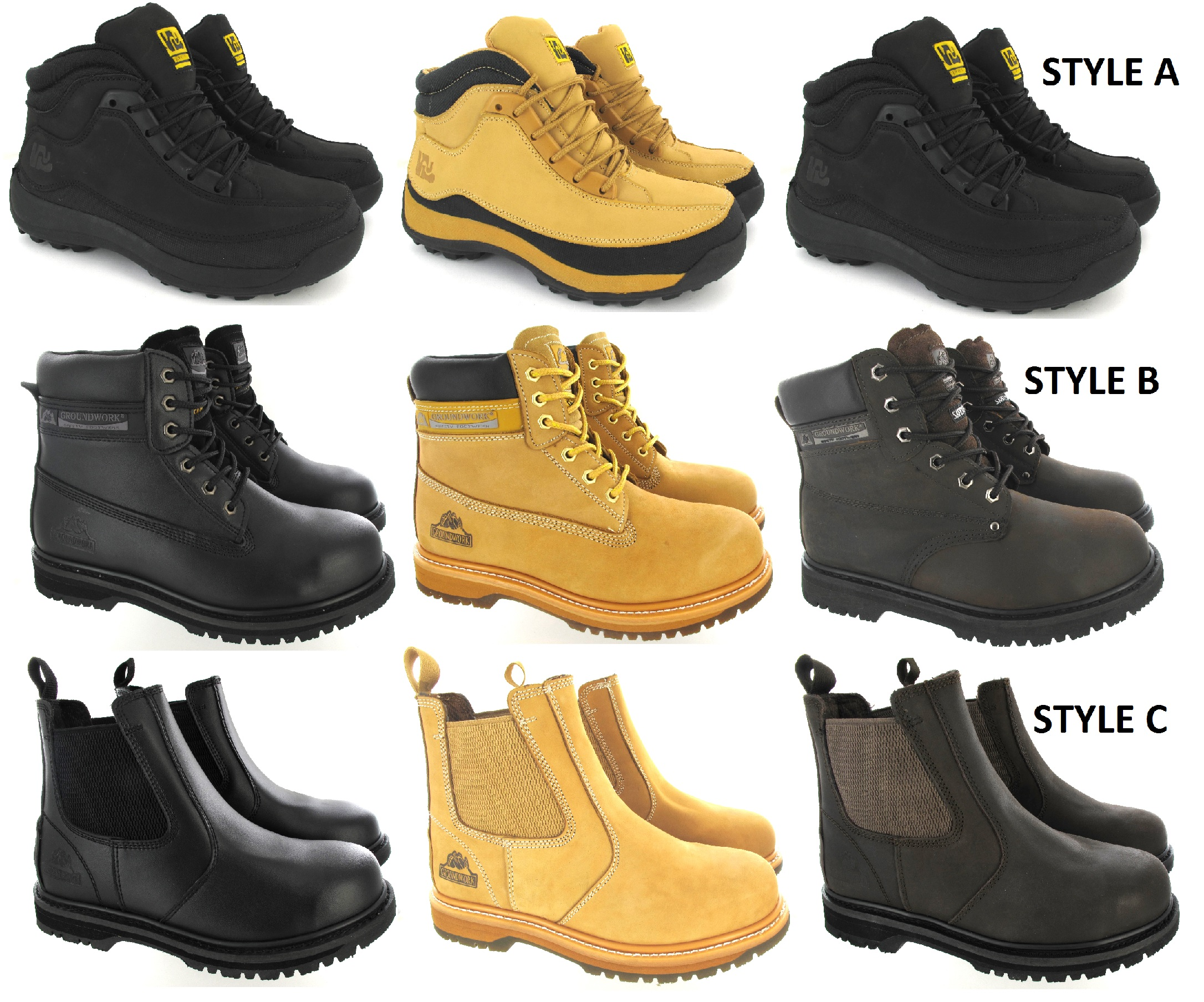Mens Groundwork Safety Trainers Lightweight Steel Toe Boots Trek Hike SIZE 6-13