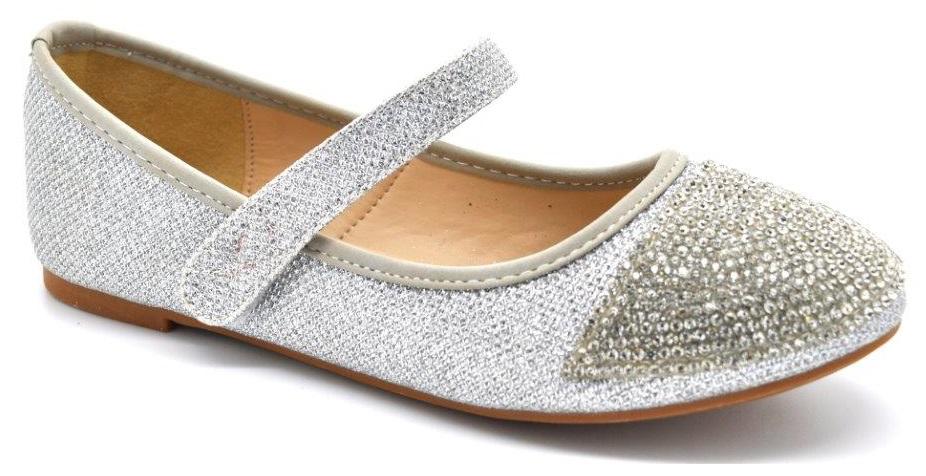 S Kids Flat Shoe Childrens Diamante Party Bridesmaid