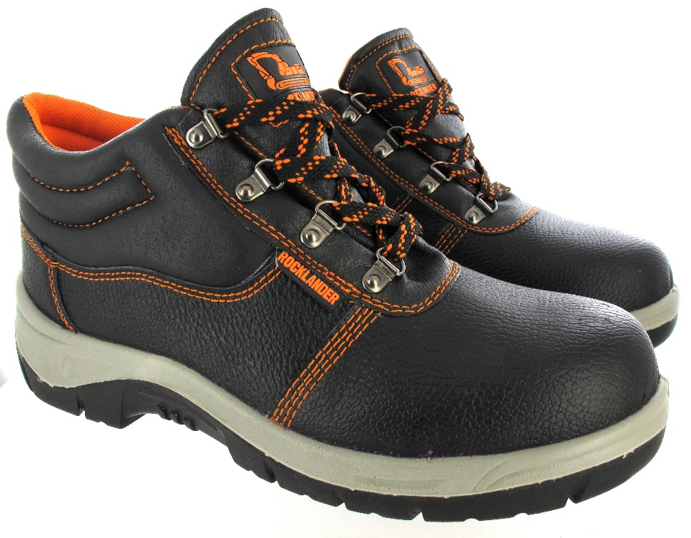 Mens Leather Steel Toe Cap Safety Black Midsole Work Shoes Boots Size 3 to 13 UK