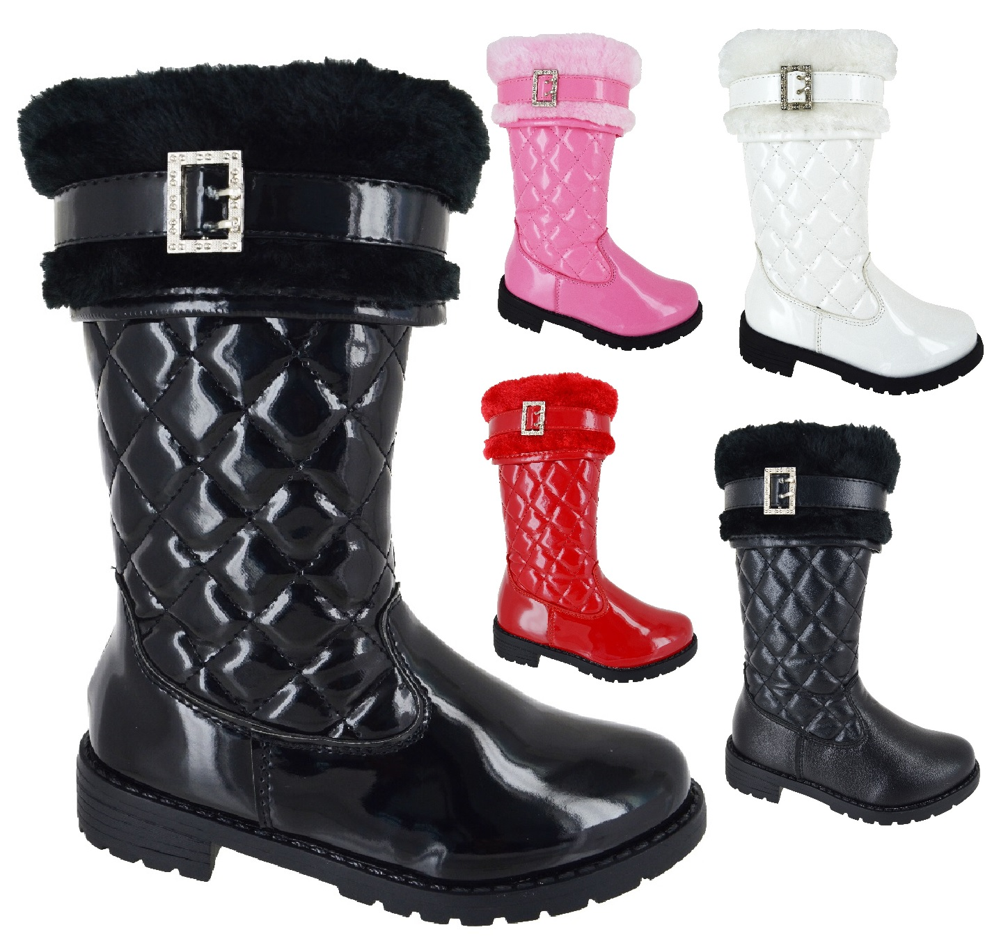 New Infants Faux Fur Quilted Kids Girls Mid Calf Zip Warm Snow Winter Boots