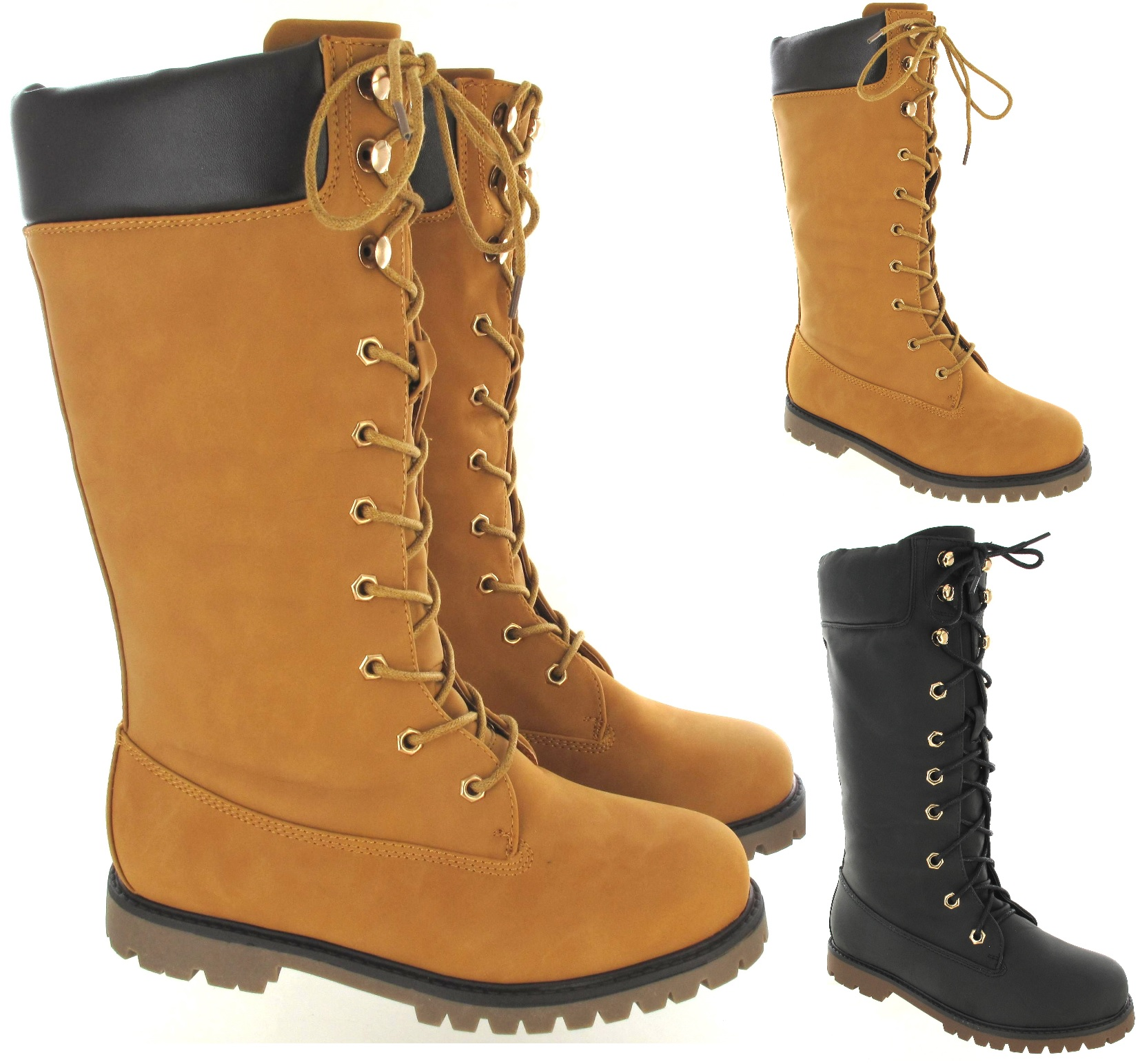 2a85985d3 Details about WOMENS LADIES ARMY LACE UP FLAT COMBAT BIKER WIDE CALF KNEE  HIGH WINTER BOOTS SZ