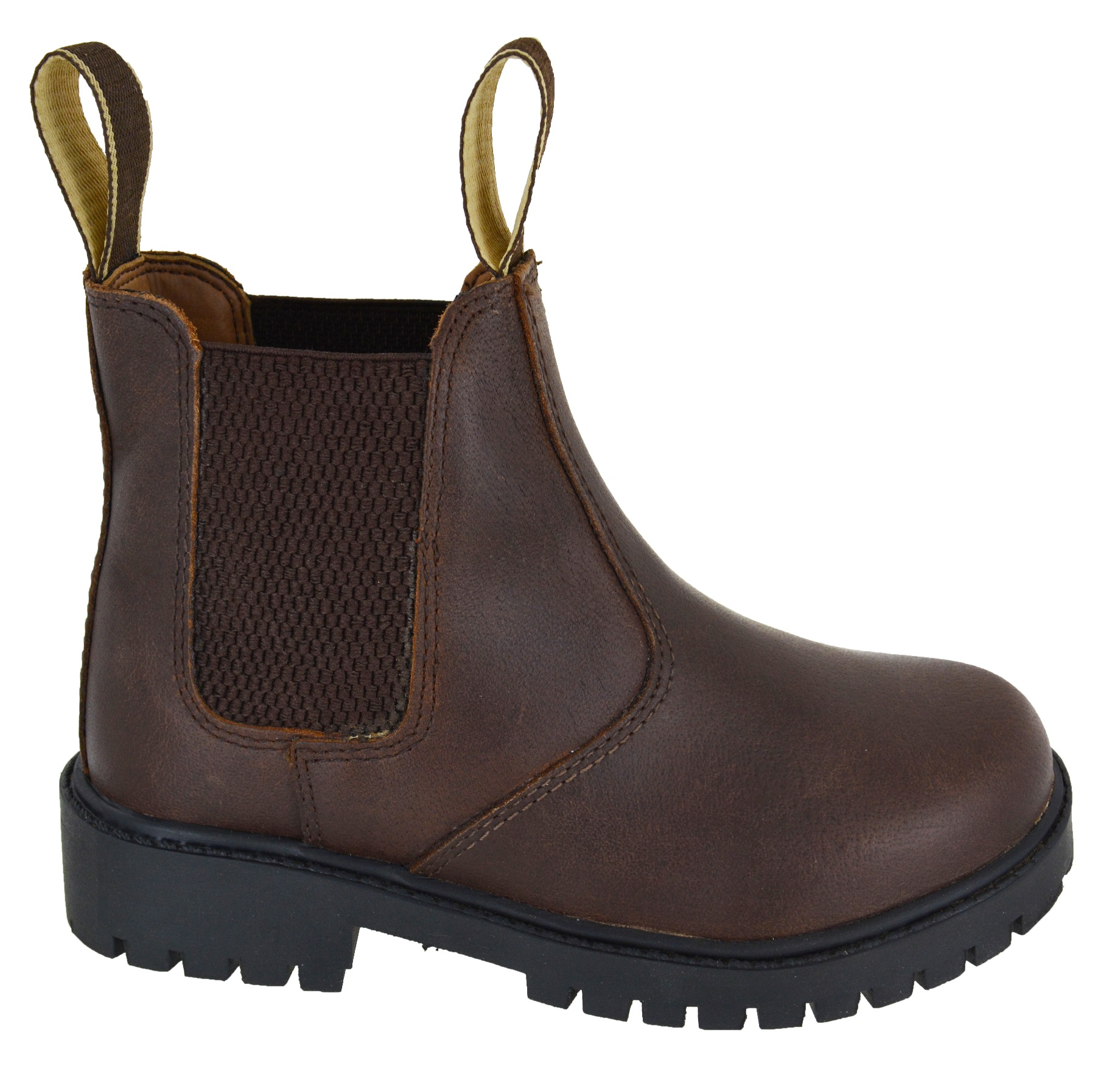 GIRLS BOYS KIDS CHILDREAN LEATHER UPPER DEALER ANKLE BOOTS CHELSEA WORK SHOES SZ