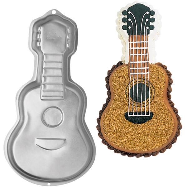Wilton Guitar Novelty Rock Music Birthday Cake Pan Tin Mold Mould Aluminium