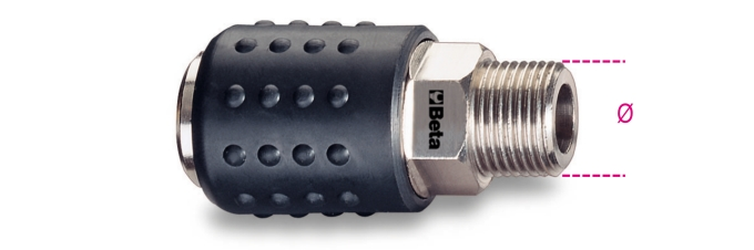 """Shockproof Rubber 3//8/""""  Gas Bsp Beta Tools 1917M-Universal Ball Quick Couplers"""