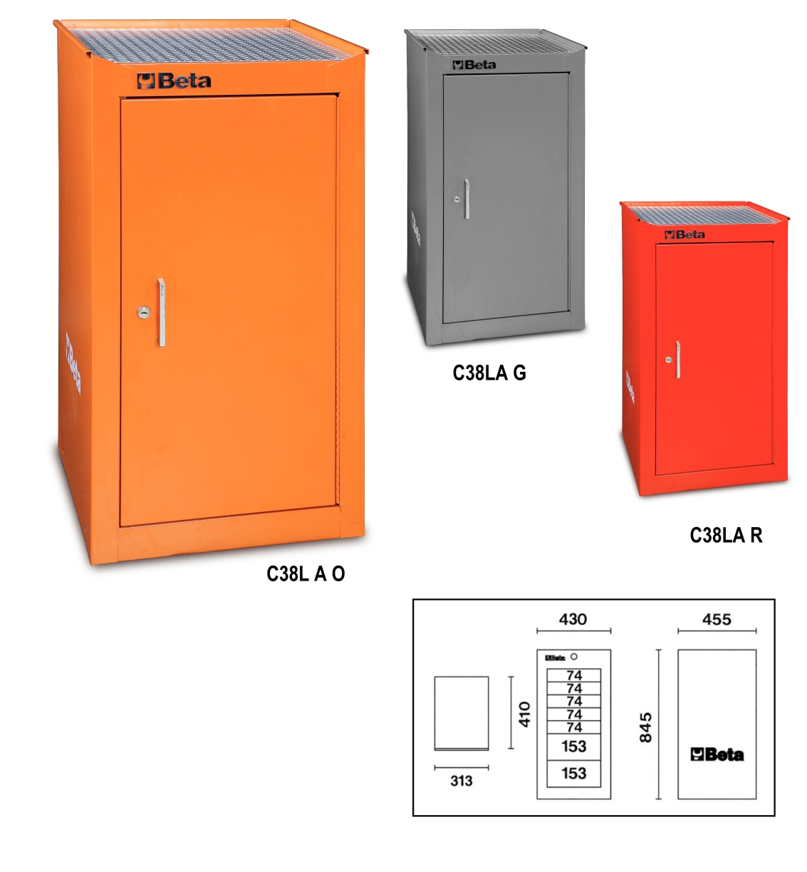 Sentinel Beta Tools C38LA O Side Tool Box Cabinet For C38 Roller Cabinet  Roll Cab