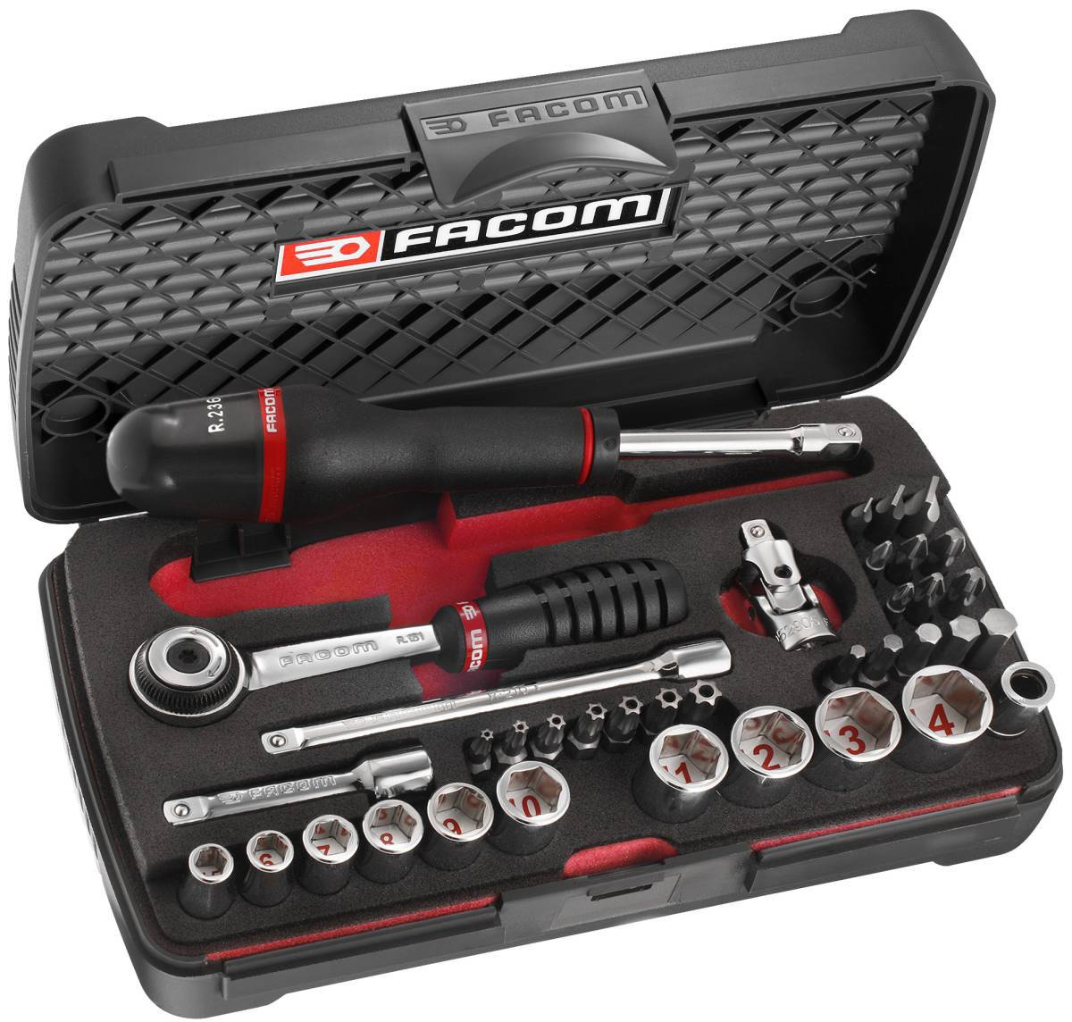 facom 37pc 1 4sd socket set bit set metric r 2am with foam insert ebay. Black Bedroom Furniture Sets. Home Design Ideas