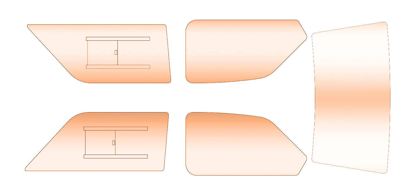 Escort Mk2-4 portes 5 pièces en polycarbonate Fenêtre Kit de bronze teinte Plastique Perspex