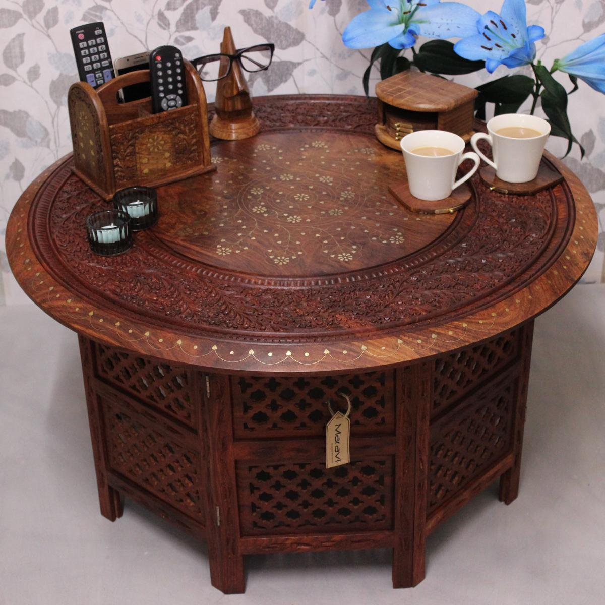 Large Round Coffee Table Uk: Karakoram Maravi Large Round Coffee Table Brown Solid