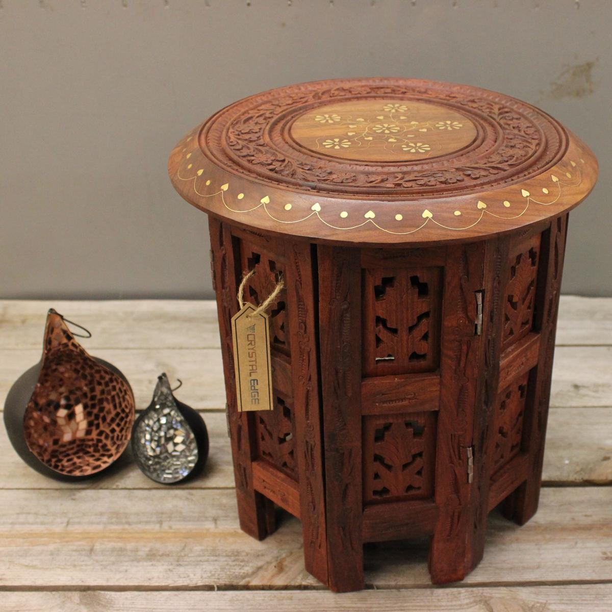 Ahar Small Side Table Wooden Round Coffee Lamp End Brown