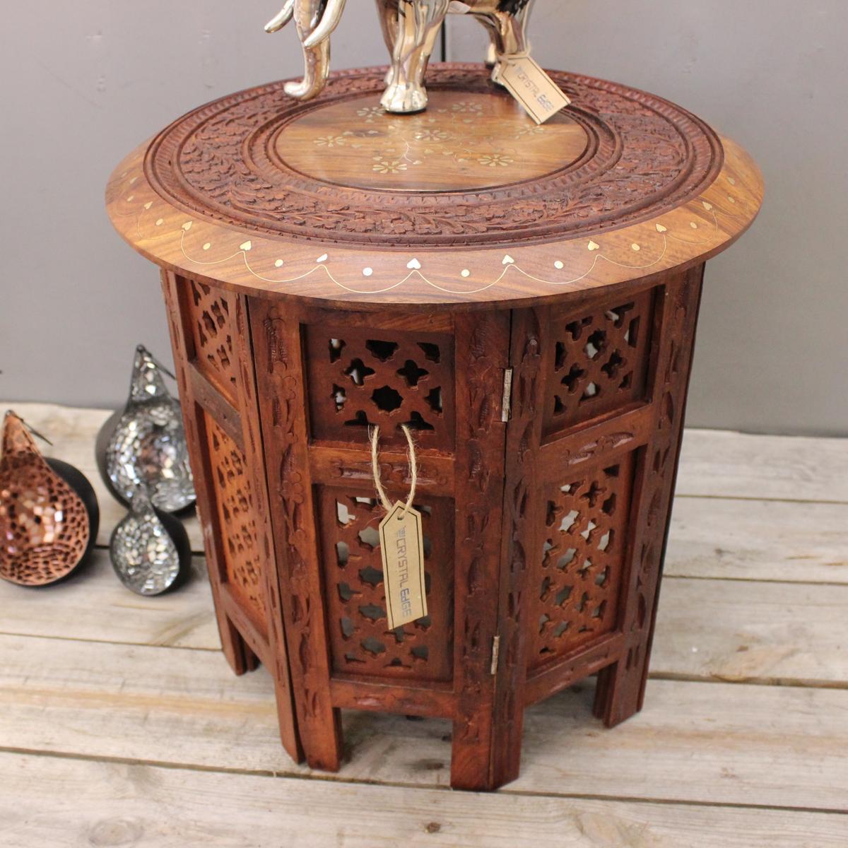 ajay klein beistelltisch h lzerne runde kaffee lampe ende braun handgeschnitzt ebay. Black Bedroom Furniture Sets. Home Design Ideas