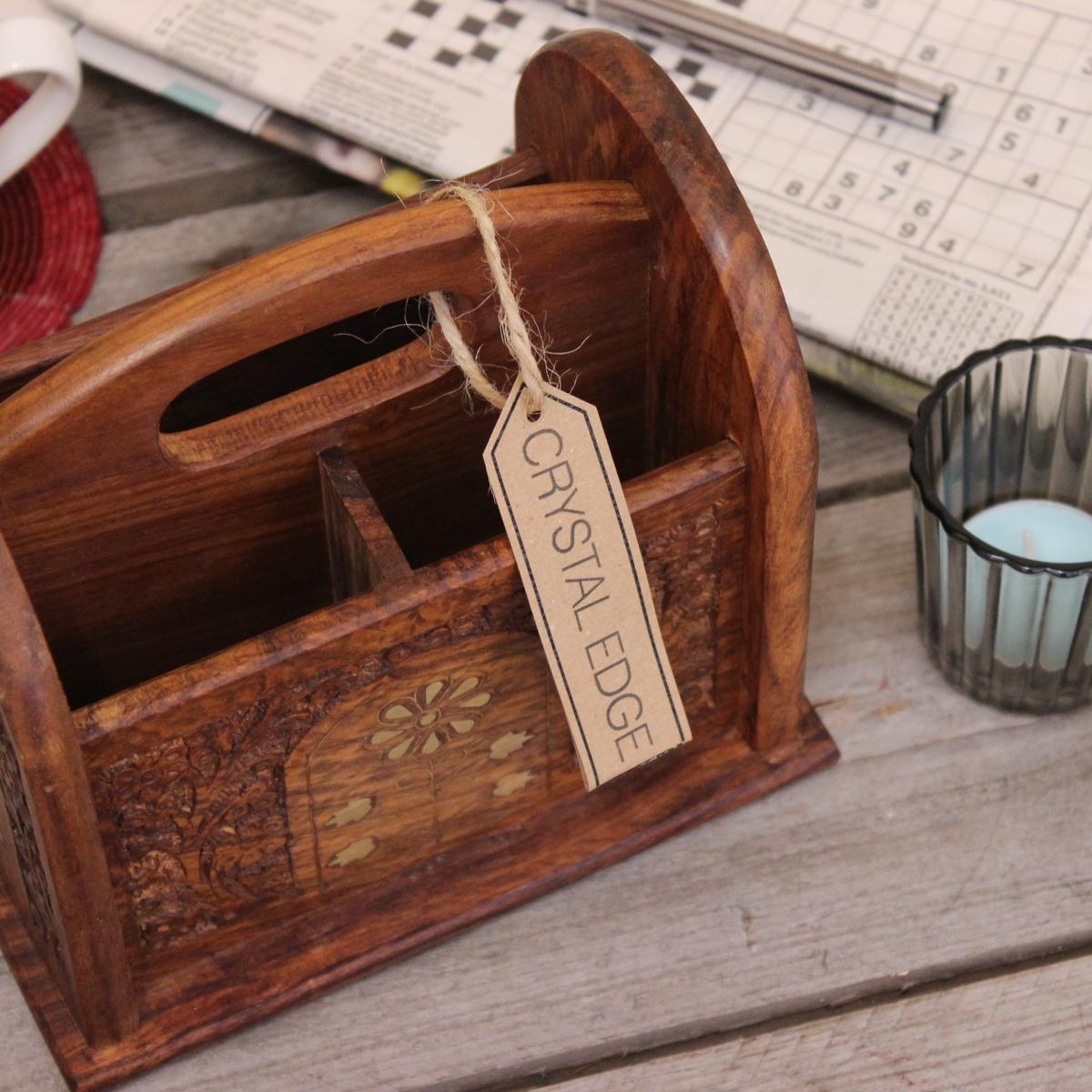 karban holz fernbedienung lagerregal mit messing inlay 3 sektion teedose 5055432527224 ebay. Black Bedroom Furniture Sets. Home Design Ideas