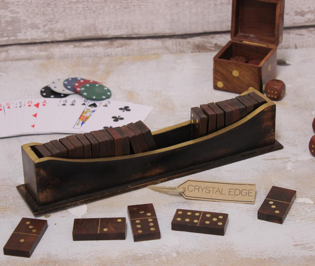handmade dominoes antiqued wooden dominoes set brass inlayed boat style 8420