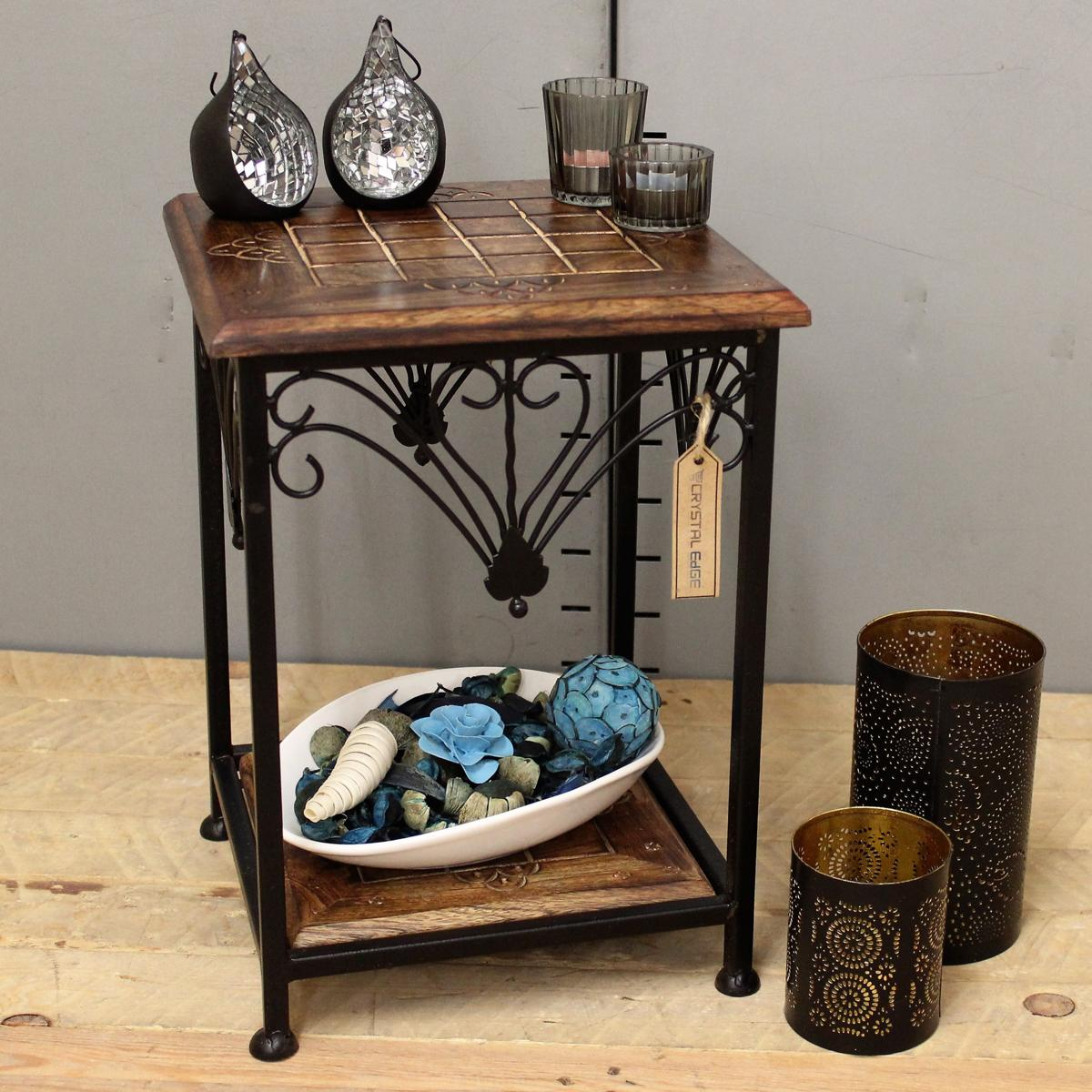 Indian Wood Coffee Table Uk: Small Side Table Indian Mango Wood And Metal Frame Hand