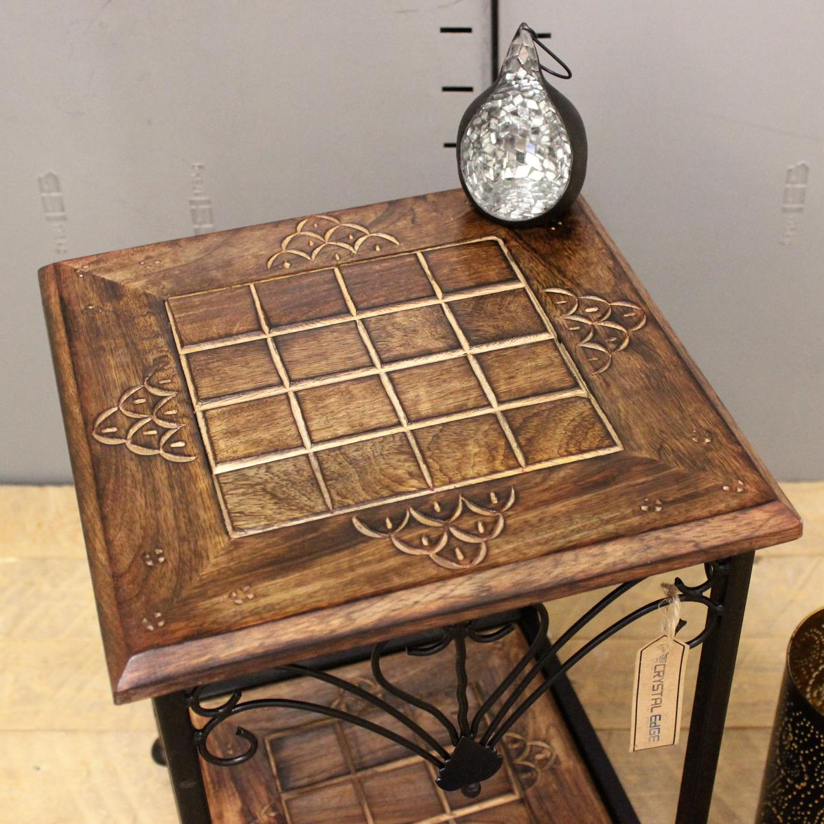 Small Side Table Indian Mango Wood And Metal Frame Hand Carved End Coffee Ebay