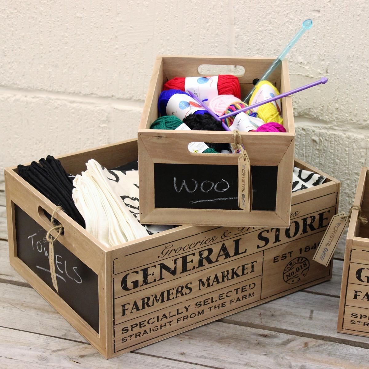 General Store Set Of 3 Chalkboard Wooden Crates Vintage