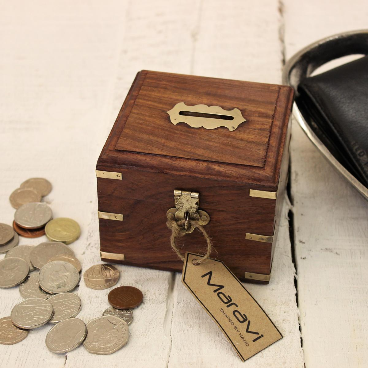Sentinel Wooden Money Box with Brass Corners Handmade Treasure Chest Home Gift Lockable & Wooden Money Box with Brass Corners Handmade Treasure Chest Home ... Aboutintivar.Com