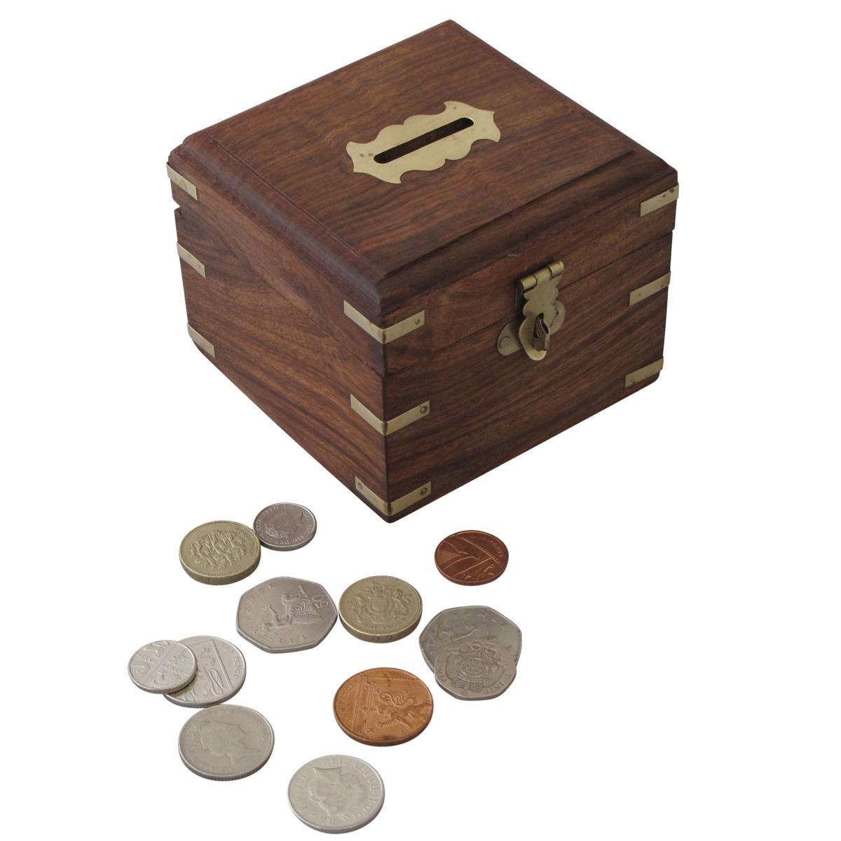 Sentinel Wooden Money Box with Brass Corners Handmade Treasure Chest Home Gift Lockable  sc 1 st  eBay & Wooden Money Box with Brass Corners Handmade Treasure Chest Home ... Aboutintivar.Com