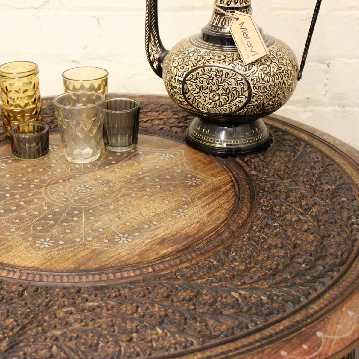 Large Round Coffee Table Uk: Matanga Large Round Coffee Table Brown Solid Wooden Indian
