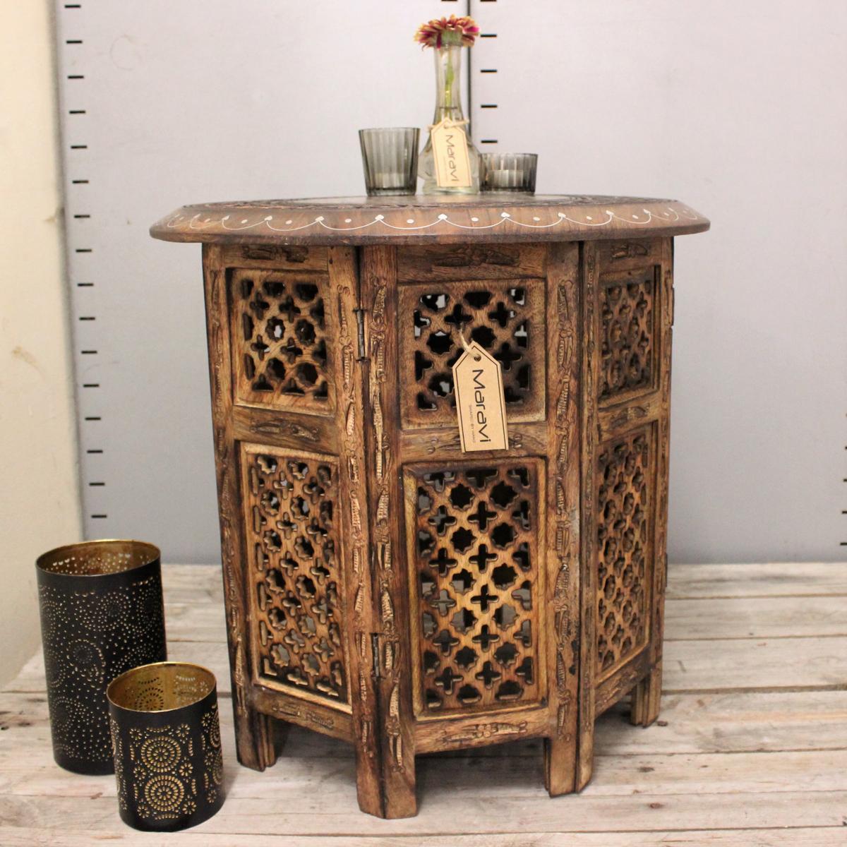damodar gro beistelltisch mit aluminium inlay indische mango holz ende kaffee ebay. Black Bedroom Furniture Sets. Home Design Ideas