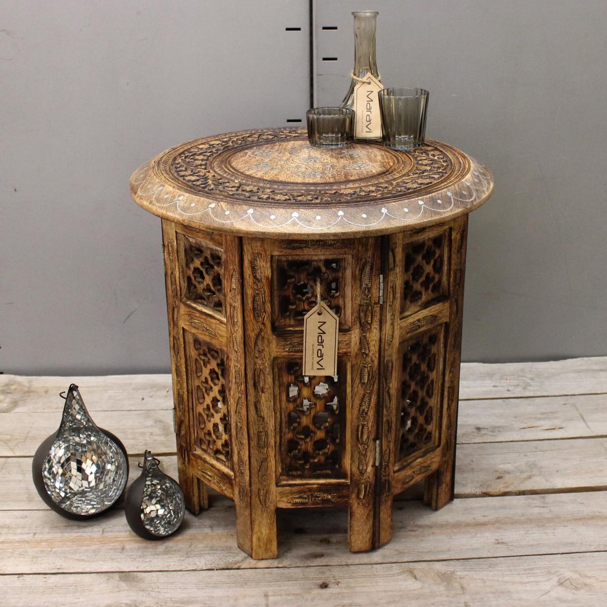 Sentinel Medium Side Table With Aluminium Inlay Indian Mango Wood Hand Carved End Coffee
