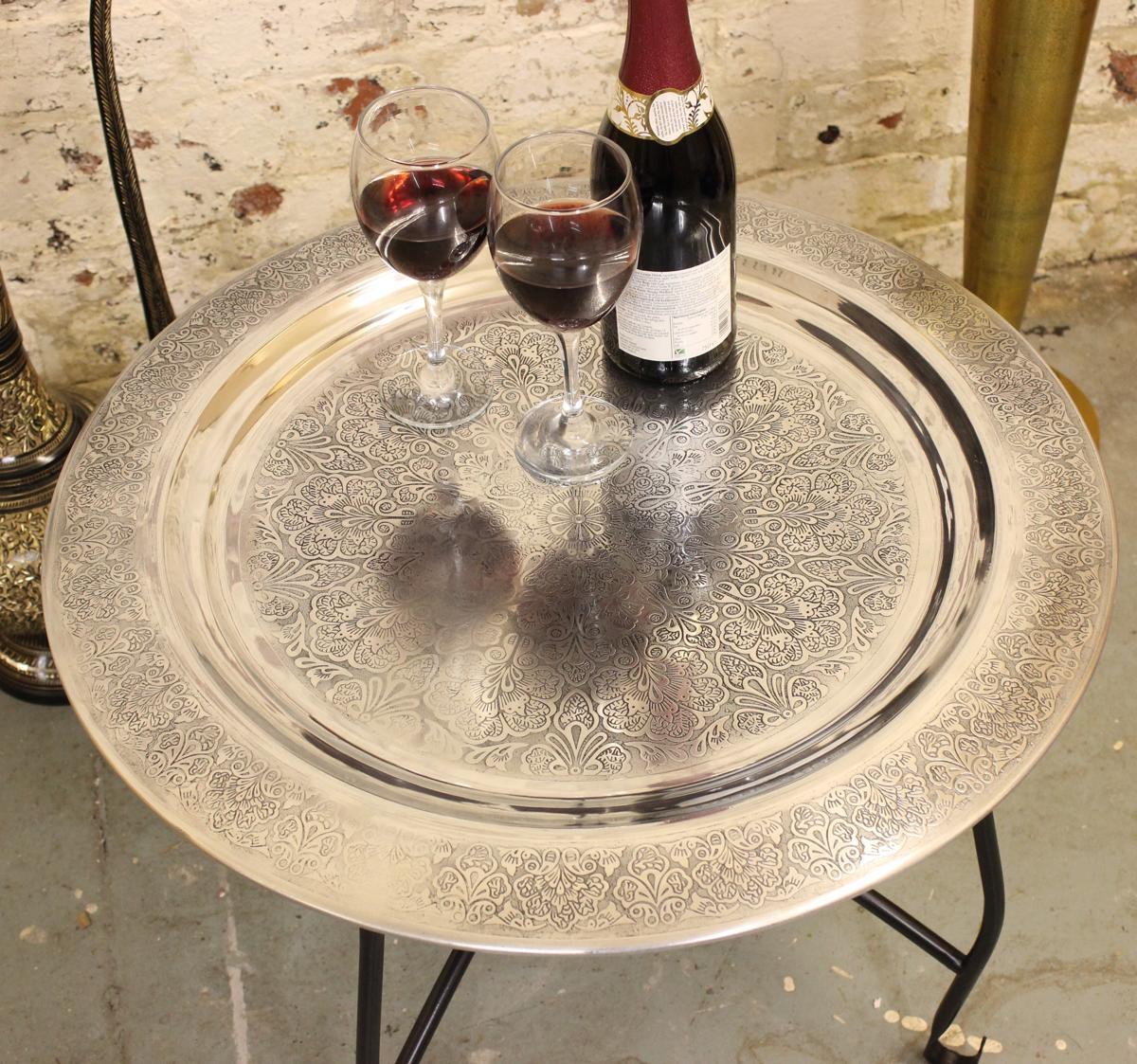 maravi rund tablett tisch seite marokkanischen alu. Black Bedroom Furniture Sets. Home Design Ideas