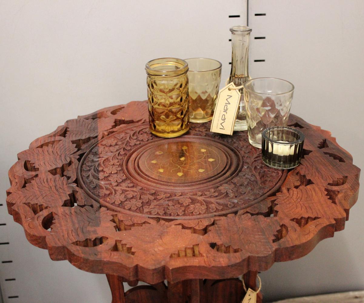 Bhargavi 2er set beistelltische h lzerne runde kaffee for Runde lampe
