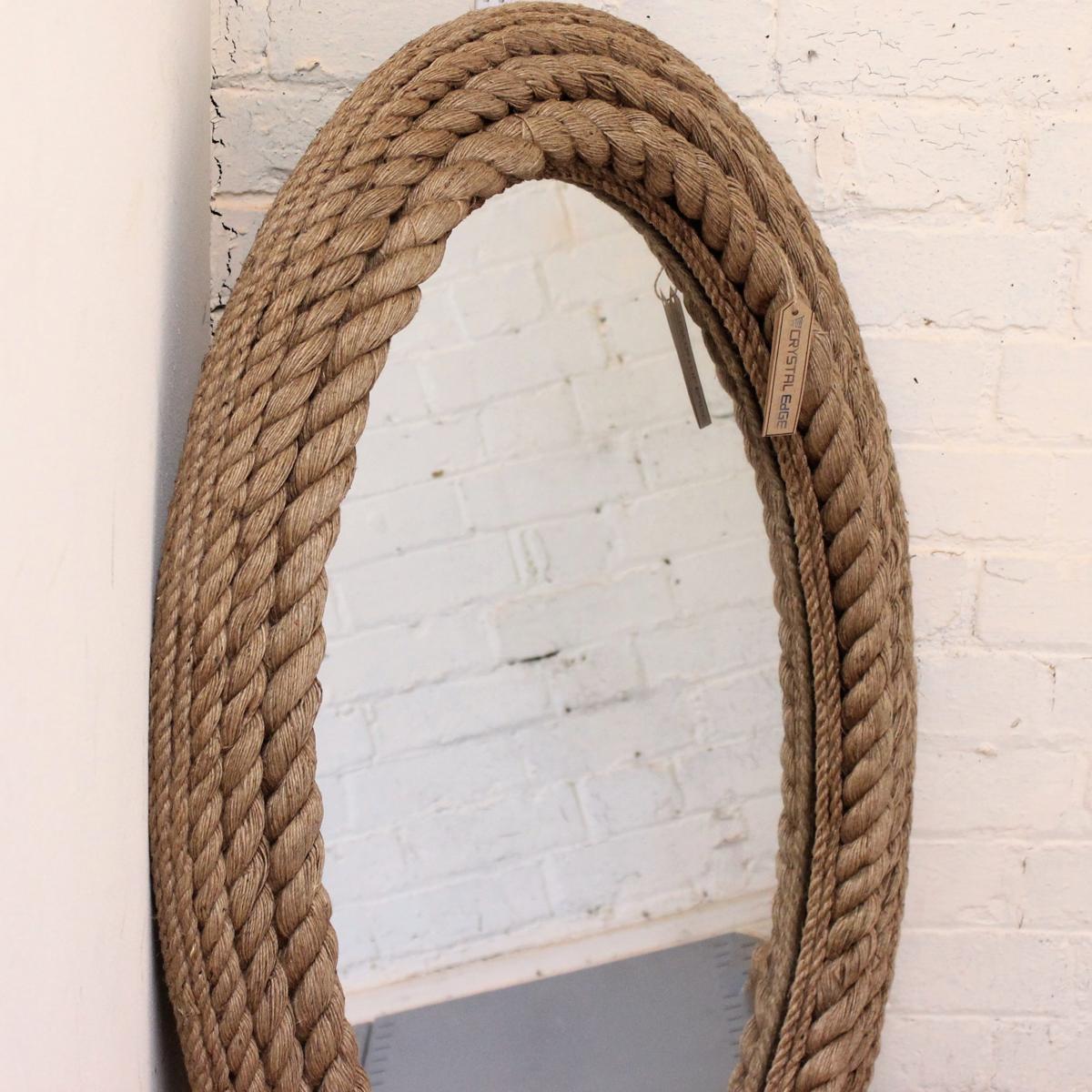 Corda ovale specchio da parete mare riva shabby chic - Specchio ovale shabby chic ...
