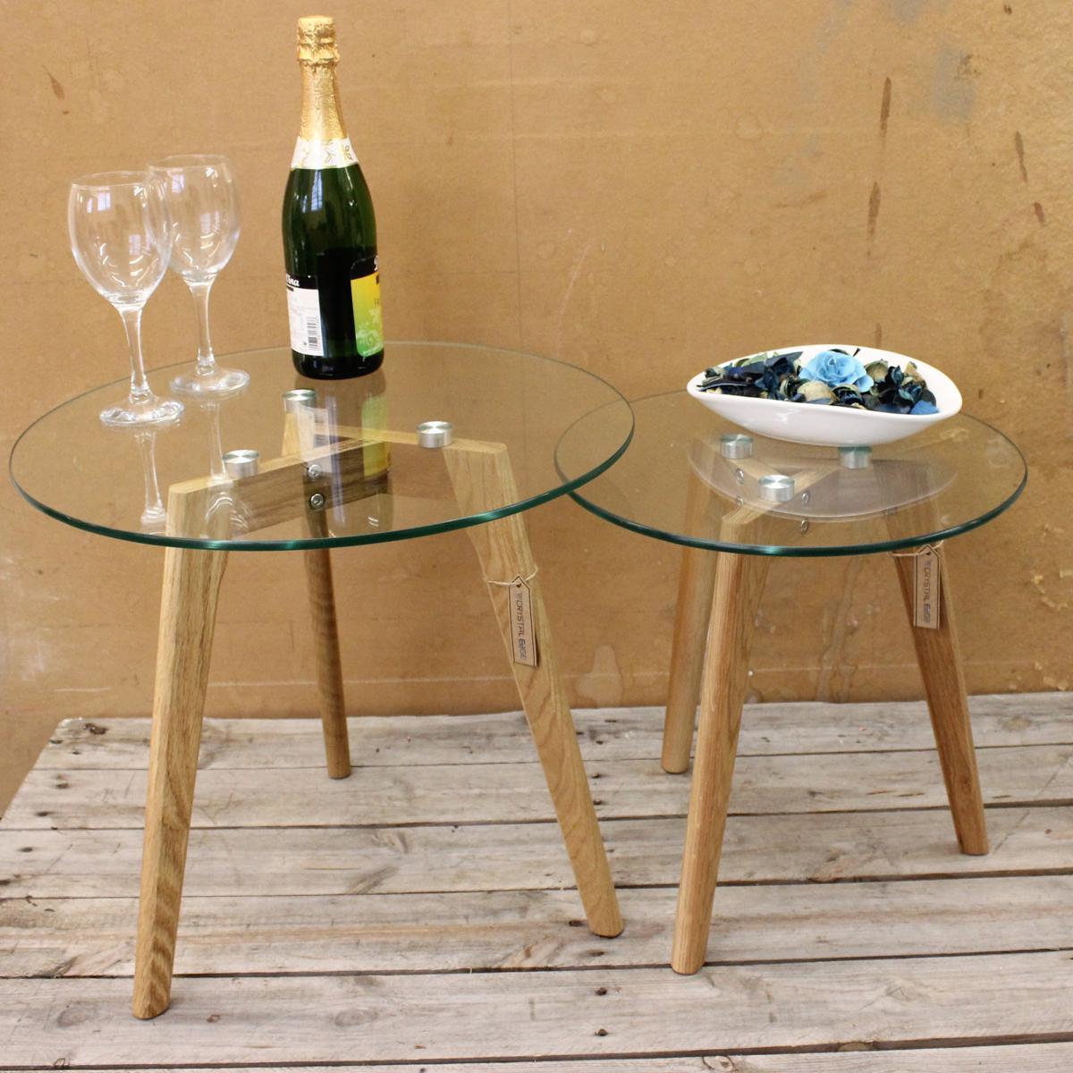 2er set beistelltische mit eiche beine rund einrichtung glas ebay. Black Bedroom Furniture Sets. Home Design Ideas