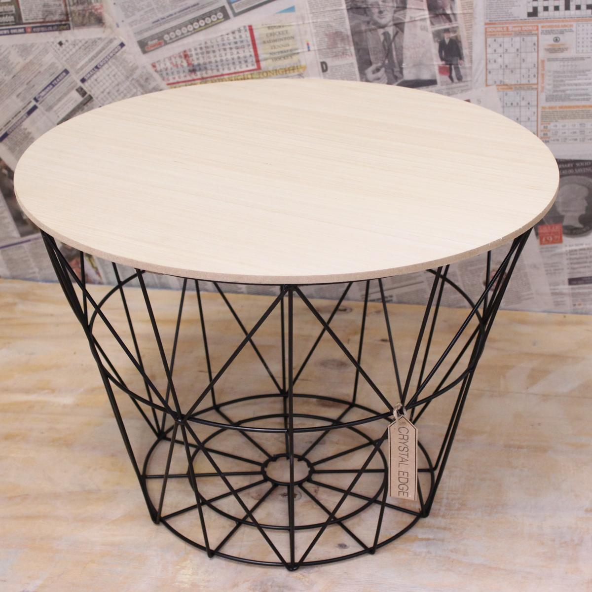 gro e h lzerne tisch metalldraht mit deckel aufbewahrungskorb rund kaffee 5024418116110 ebay. Black Bedroom Furniture Sets. Home Design Ideas