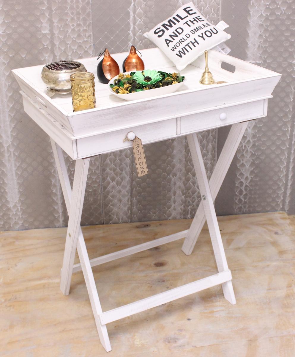 living umklappbar tablett tischst nder portion holz shabby chic wei scho bett 5024418000280 ebay. Black Bedroom Furniture Sets. Home Design Ideas