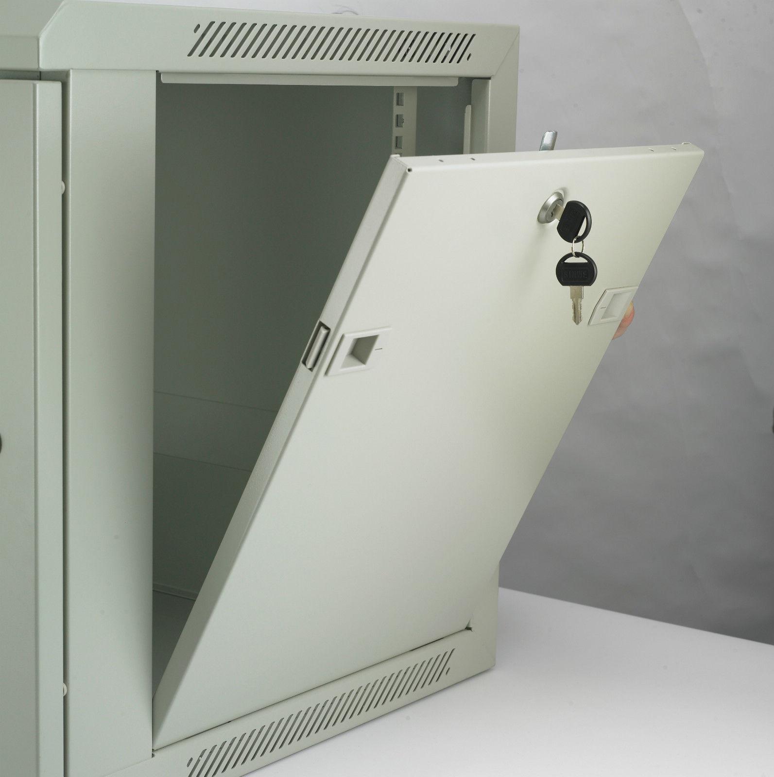 18u 19 500mm Deep Network Wall Mounted Data Cabinet Patch Panel Pdu Ebay