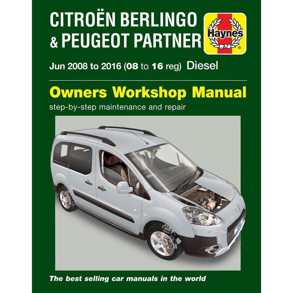 Peugeot Partner Teepee and Van Haynes Manual 2008-16 1.6 Diesel Workshop  Manual