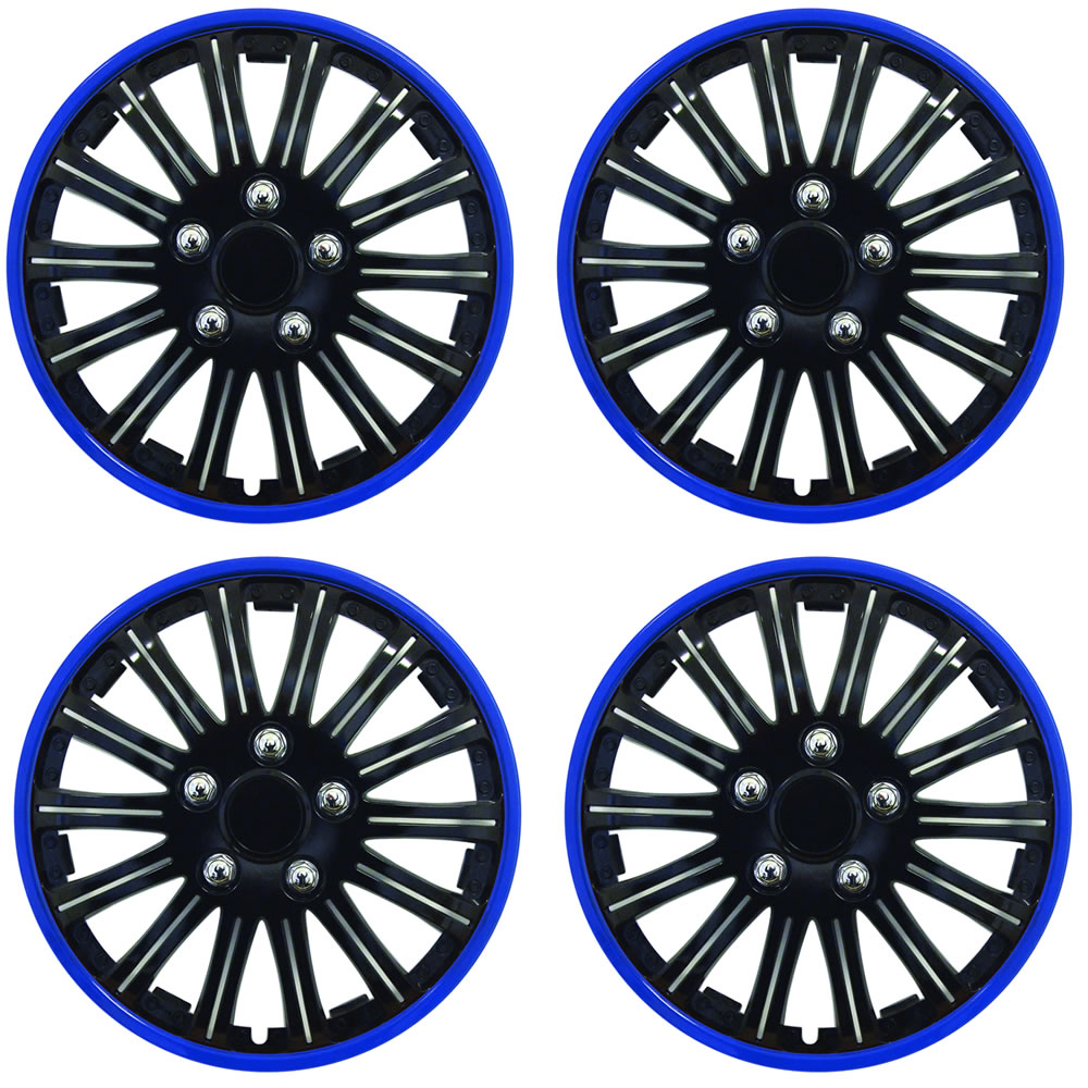 set of 4 x 14 inch blue and black sports wheel trims cover hub