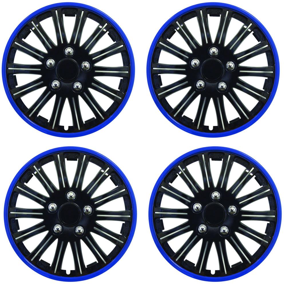 15 inch lightening sports wheel cover trim set black with blue ring rims 4pcs ebay. Black Bedroom Furniture Sets. Home Design Ideas