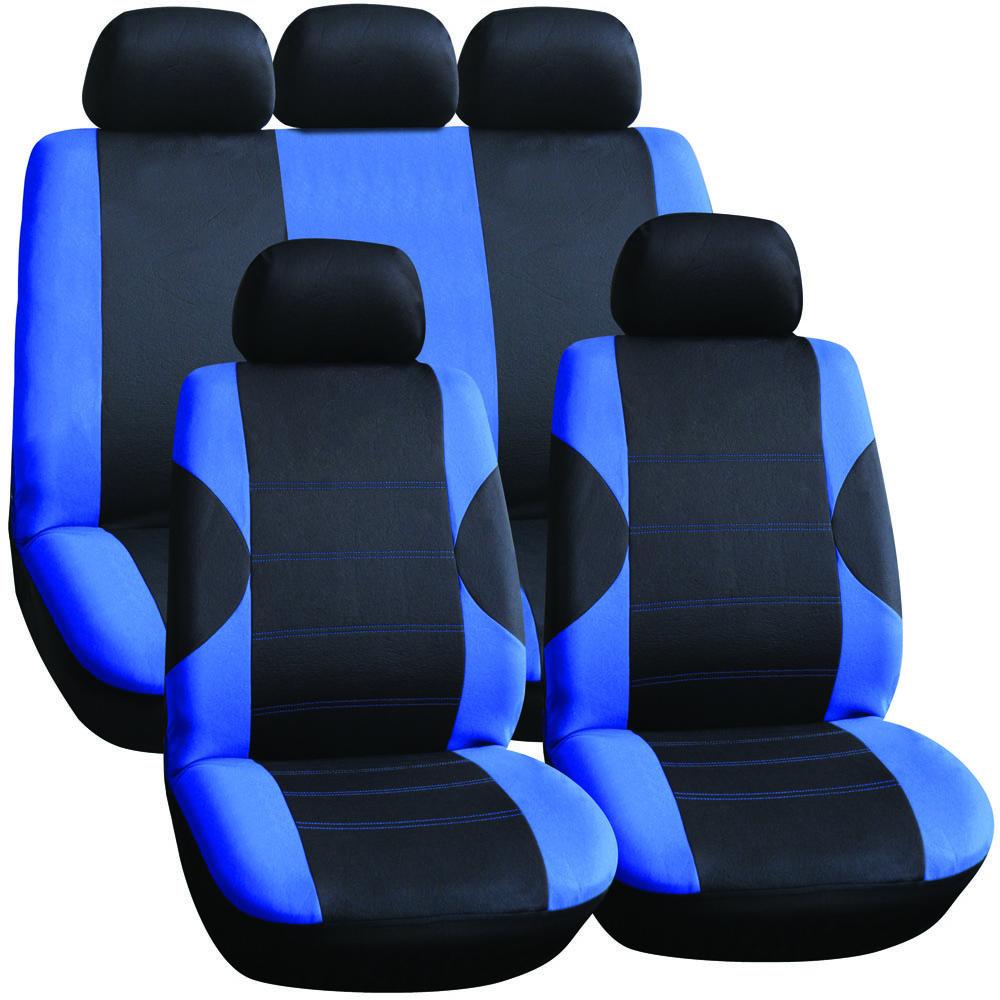 11 piece lo back car seat cover set black blue design front rear inc 5 headr ebay. Black Bedroom Furniture Sets. Home Design Ideas