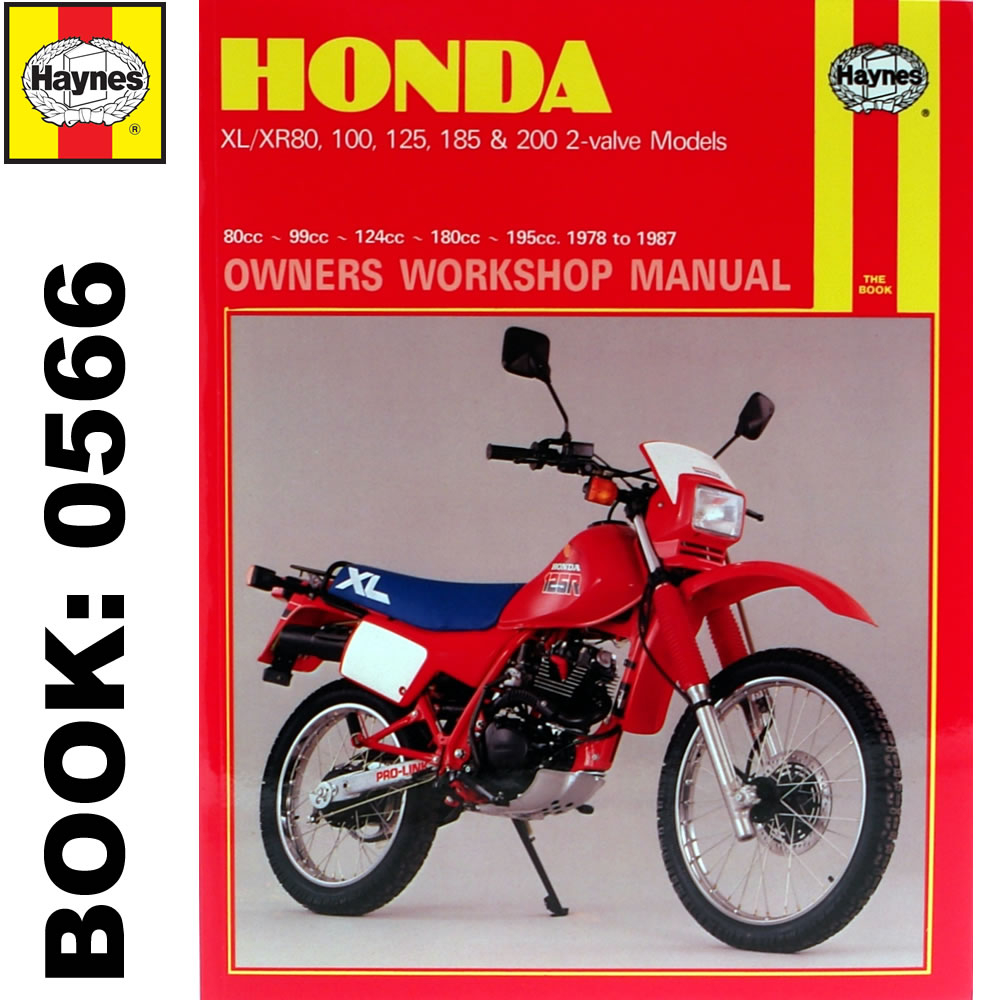 Honda XL80 XL100 XL125 XL185 XL200 + XR 2-Valve Models 1978-87 Haynes  Workshop M