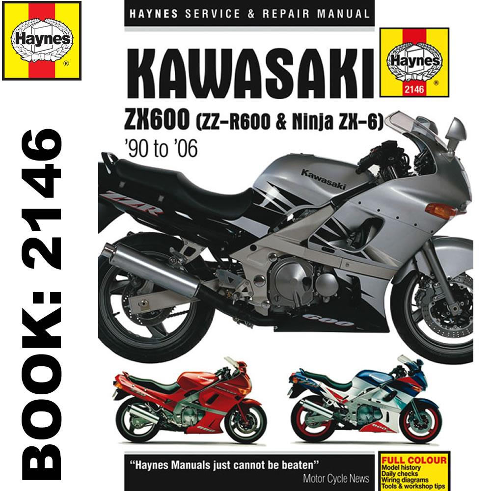 Kawasaki Zx600 Zz R600 Ninja Zx6 1990 2006 Haynes Workshop Manual Zx6r Wiring Diagram