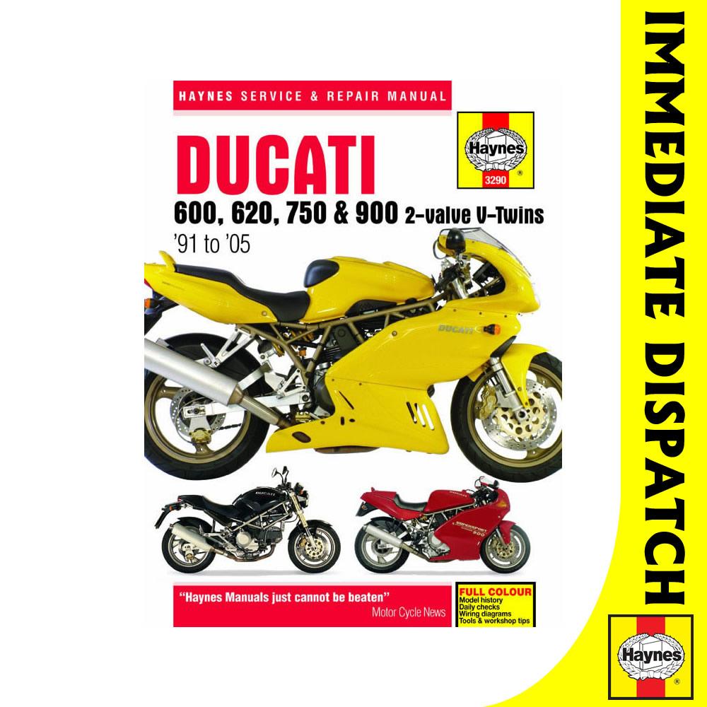 3290] ducati 600 620 750 900 2 valve twins 1991 2005 haynes workshop