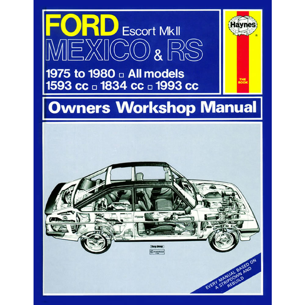 Ford Escort MK2 Mexico RS 1800 2000 Haynes Manual 1975-80 1.6 1.8 2.0  Workshop