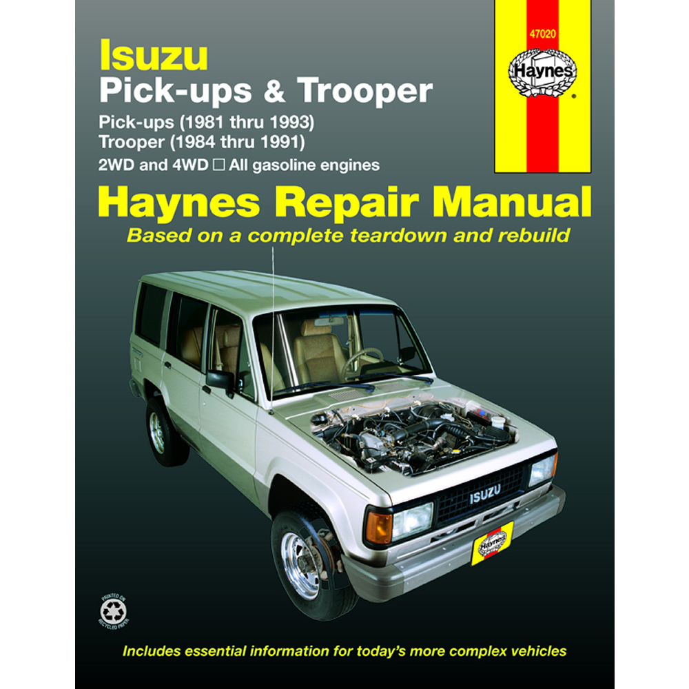 details about isuzu trooper 2wd 4wd 1984 1991 haynes usa workshop manual rh  ebay co uk 2000 Isuzu Trooper Owner's Manual 2000 Volvo S80 Repair Manual