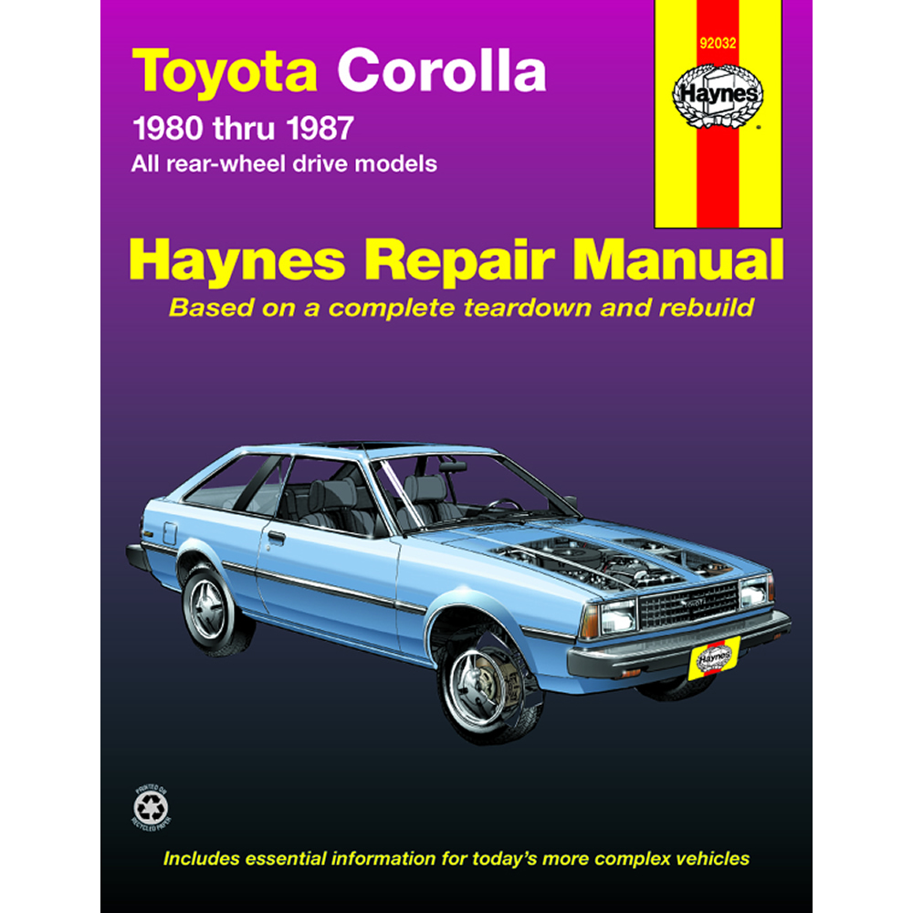 Toyota Corolla RWD Models 1980-1987 Haynes USA Workshop Manual