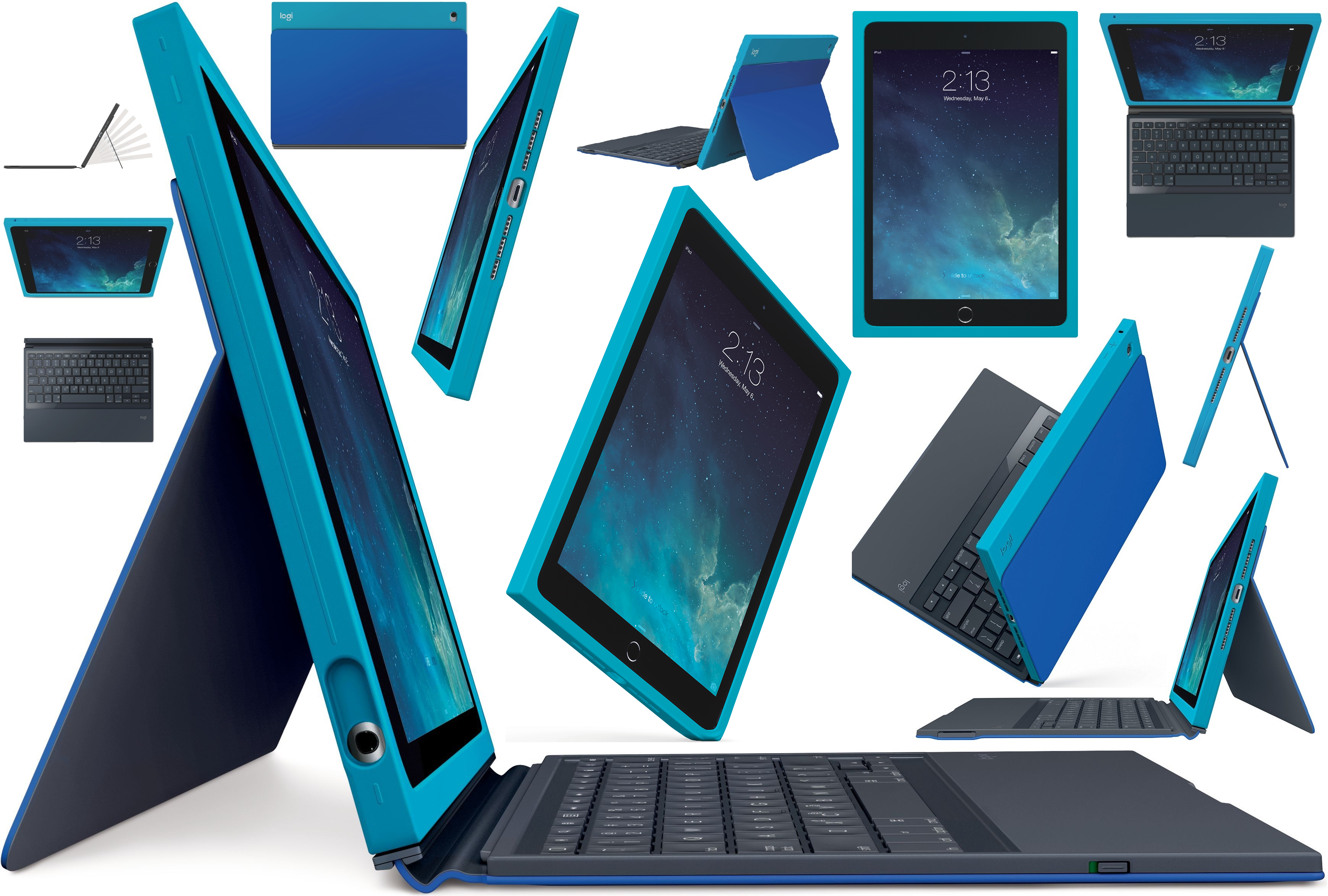 the best attitude 4e5ce 5aa9c Details about Logitech BLOK Teal / Blue Protective Wireless UK Keyboard  Case Cover iPad Air 2