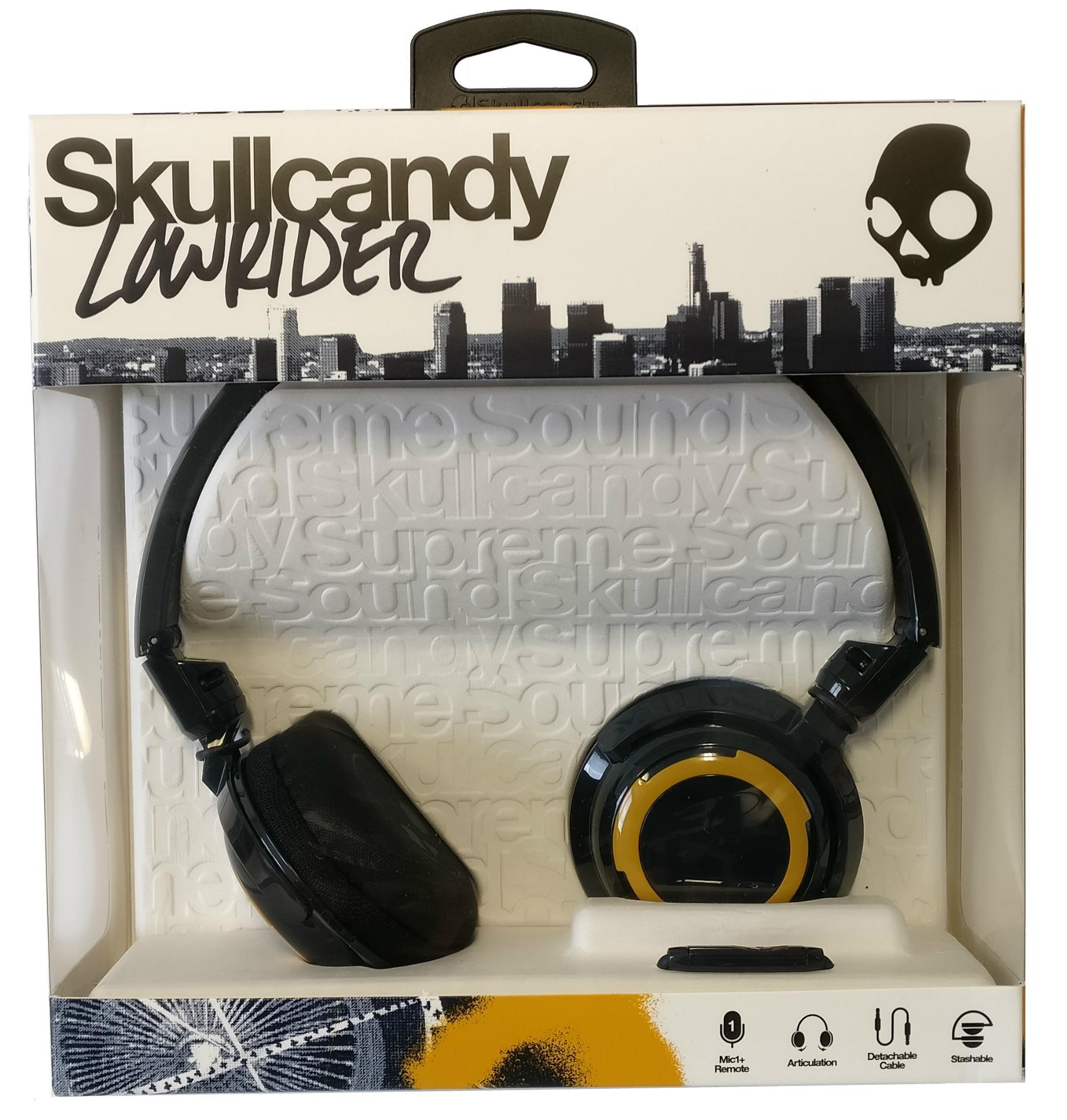 Skullcandy Headphones Wired | Skullcandy Navy Gold Lowrider Wired Headphones With Microphone